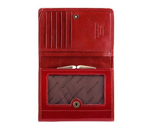 WITTCHEN portafoglio, Rosso, Dimensione: 9.5x12 cm - Materiale: Pelle verniciata - 25-1-070-3