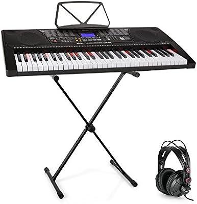 Schubert Etude 225 USB Teclado con auriculares de estudio y soporte • Piano de 61 teclas luminosas • Reproductor MIDI USB • 255 registros, 255 ritmos, ...