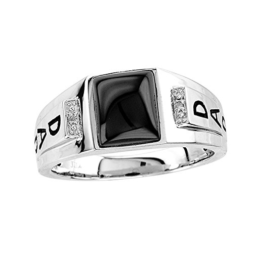 Onyx Dad Ring (Esty & Me Men's Black Onyx Dad Ring in Sterling Silver - Size 10)