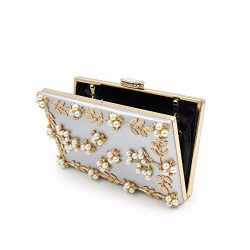 de qualité pearl sac nouveau multicolor soir haute sac Argenté diamond embrayage black broderies pearl B1YgI