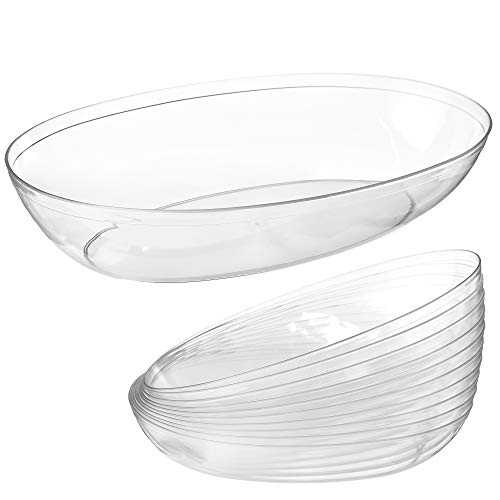 Clear Plastic Serving Bowls for Parties | 32 Oz. 10 Pack | Oval Disposable Serving Bowls | Clear Chip Bowls | Party Snack Bowls | Plastic Candy Dish | Salad Serving Containers | Large Candy Bowls -