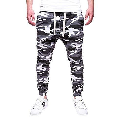 Kekebest Mens Pants,Trousers 2019 Popular Autumn Fashion Sport Camouflage Lashing Belts Casual Loose Sweatpants Drawstring Rugged Wild Hiking Convertible Zip Off Fishing Travel Safari Plus Size
