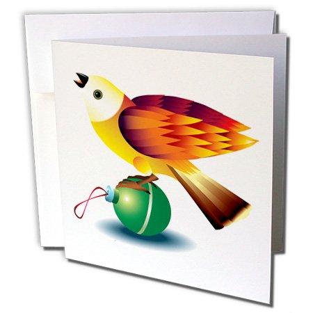 3dRose orange bird bird design Christmas graphic art - Greeting Cards, 6 x 6 inches, set of 6 (gc_21227_1)