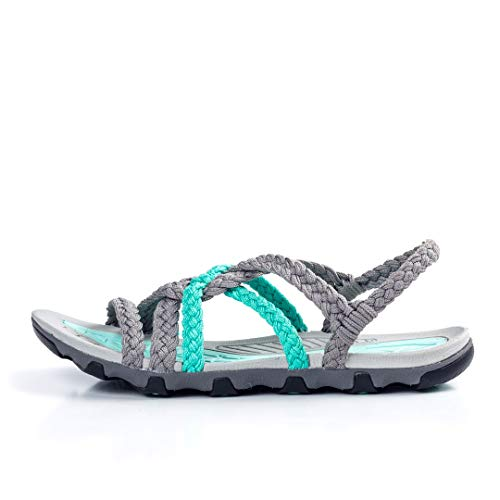 Pictures of Plaka Hiking SandalsWomen Urban Gray Turquoise Size 7