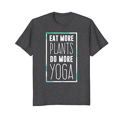 Mens Eat More Plants Do More Yoga T-Shirt for Women Men Kids Large Dark Heather