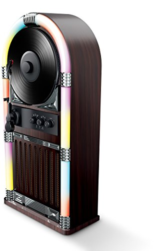 ART+SOUND AR3004 Bluetooth Wireless Jukebox with Vertical Record Player and Retro Light Show (Record Player Jukebox)
