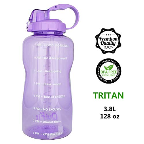QuiFit 128oz Portable Drinking Straw Daily Water Bottle Sport Water Jug Gallon BPA Free Non Leak Design with Time Marked to Ensure You Drink Enough of Water Throughout The Day(Purple)