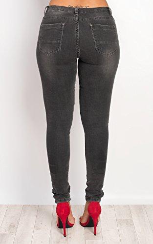 Detalle De Dorete Womens Skinny Ikrush Black Cremallera Jeans wqZUAnxE8