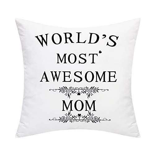 Phrase Pillow - BLEUM CADE Throw Pillow Cover World's Most Awesome Mom Pillow Case Cushion Cover for Mother 's Day Decorative Pillow Case Home Decoration