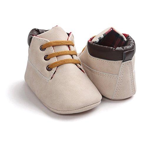 Zapatos de bebé Auxma Bebé niña niño zapatos,cuero suela suave infantil niño zapatos con cordones Beige