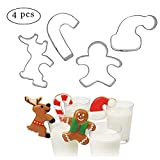 4PCS Hanging Cup Cookie Cutter, christmas mug decor, kitchen accessories chocolate baking tools(Gingerbread Man, Christmas candy, Elk, Santa Claus cap)