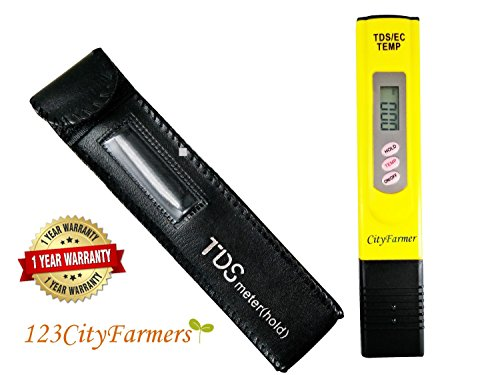 2018 New Package – City Farmer Hydroponic Nutrient TDS Meter, Water Quality Tester for Hydroponic Nutrient Level, Household Drinking Water, Pool, Aquarium Water, one year (Nutrient Meter)
