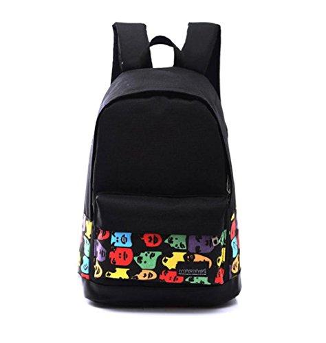 LuckES Retro Ladies Backpack Otoño E Invierno Damas Tendencia Mochila College Bolsa Zipper Señoras Bolso Doble Tamaño Dobles Lona 42A