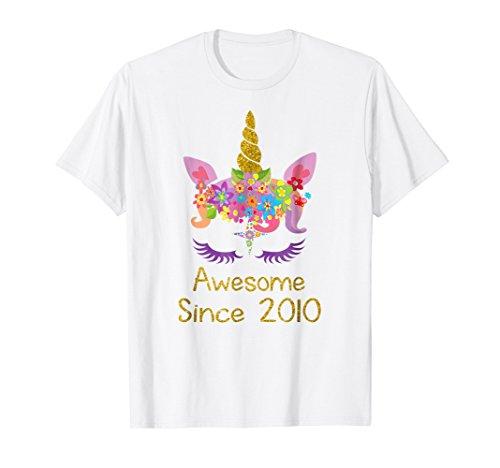 Cute 9th Birthday Unicorn Girls Tshirt, Awesome since 2010 ()