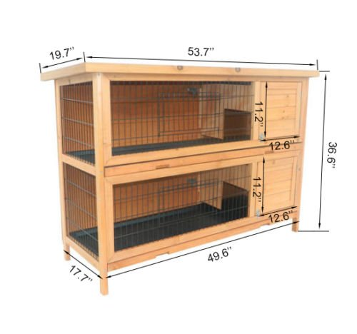 GHP Home & Garden 53.5''L×19.5''W×36.5''H Sturdy Solid Fir Wood Deluxe Hutch