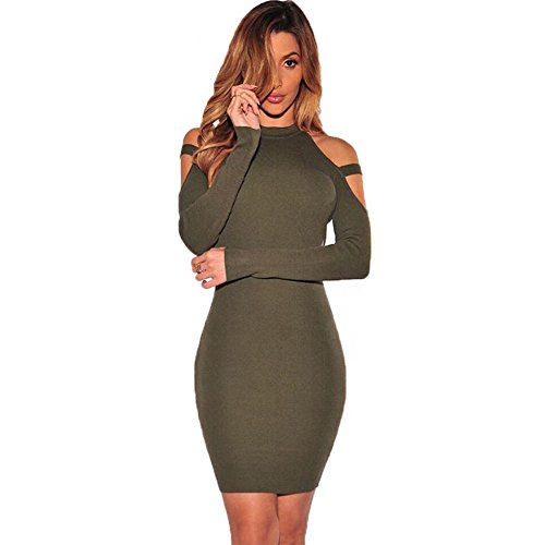 Women's Sexy Halter Long Sleeve Off Shoulder Bodycon Party Club Midi Dress Green, Small