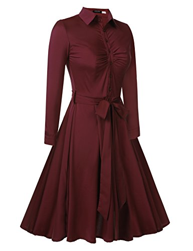 Rockabilly Red Swing Long Beyove Line Vintage Sleeve A Belted Wine Retro Women's Dress 1950s 11UwZY