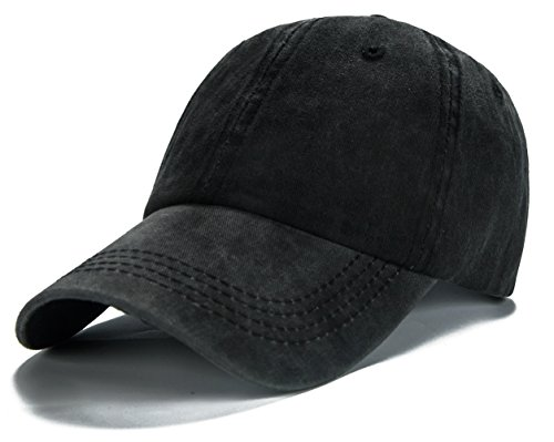 Edoneery Men Women Cotton Adjustable Washed Twill Low Profile Plain Baseball Cap Hat(Black) ()