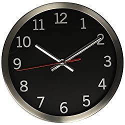 Timekeeper Round Wallclock with Brushed Metal Rim, 9-Inch