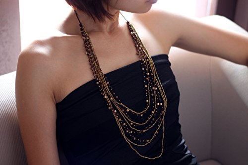 Strands Necklaces Gemstone Brown Jasper Romantic Boho Multi Strand Skinny Delicate Evening Dress