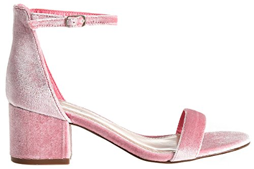 Strap Heel Sandals Heel Ankle Block Low Kitten Covered Velvet Pink Adorable d0dRfwx