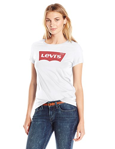 (Levi's Women's Slim Crew Neck Tee Shirt, Core Batwing White (100% Cotton), Large )