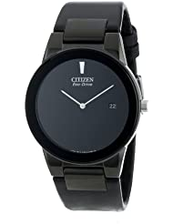 Citizen Mens Eco-Drive Axiom Watch with Black Leather Band, AU1065-07E