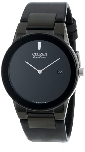 Citizen Mens Black Dial Watch - Citizen Men's Eco-Drive Axiom Watch with Black Leather Band, AU1065-07E