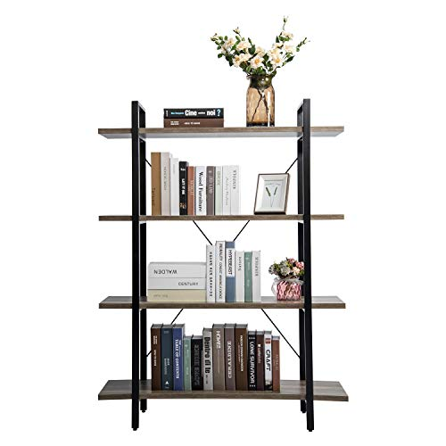 YOURLITEAMZ 4 Tiers Industrial Vintage Bookcase Wooden and Metal Bookshelf Ladder Shelf Plant Flower Stand Storage Shelves Rack