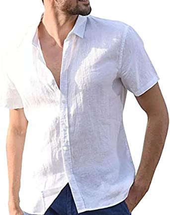 Vanvene - Camisa de lino para hombre, manga corta, cuello abotonado, talla S a XXL: Amazon.es: Ropa y accesorios