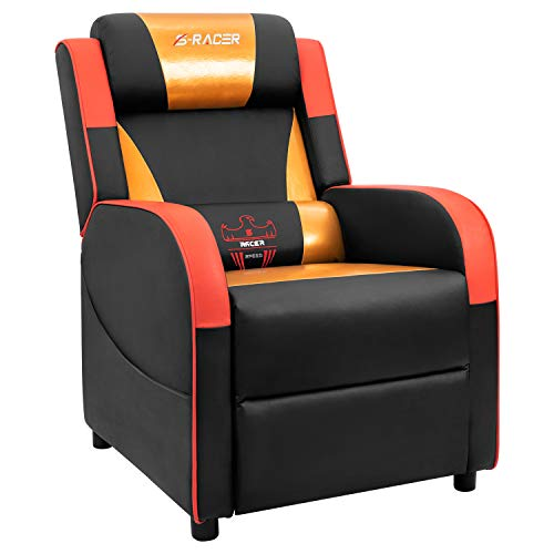 Homall Gaming Recliner Chair Single Living Room Sofa Recliner Sracer PU Leather Recliner Seat Home Theater Seating (Gold) ()
