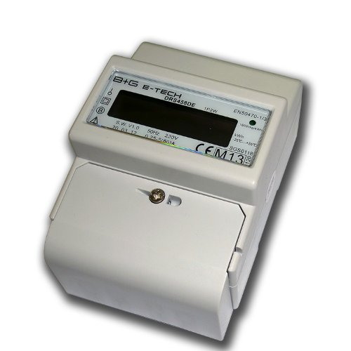 B+G E-Tech DRS458DE - LCD digitaler Wechselstromzä hler, Stromzä hler MID GEEICHT/BEGLAUBIGT 230V 5(80) A direktmessend mit S0 und RS485 Modbus RTU fü r DIN Hutschiene