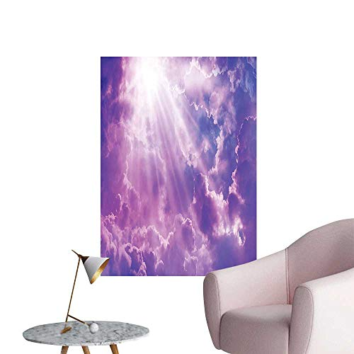Vinyl Wall Stickers Dramatic Magical Sky with Sun and Heavy Clouds Sunlights Decorative Picture Purple White Perfectly Decorated,28