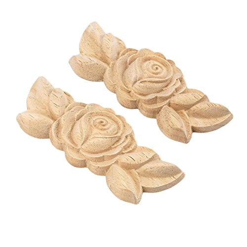 2pcs 9x3.5cm Wood Carved Corner Onlay Applique Door Cabinet Rose Unpainted European Style