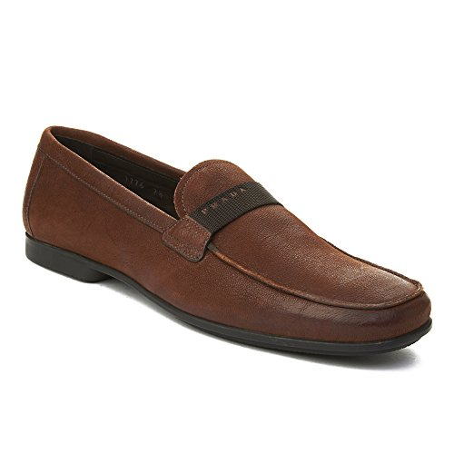 Prada Mens Leather Penny Loafer Shoes Brown
