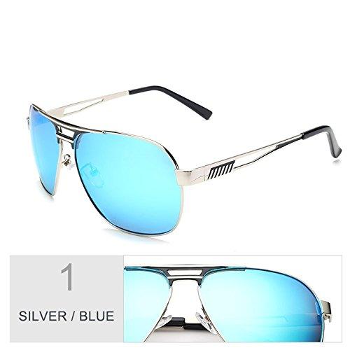 Gafas Macho Azul De Aviador Piloto Oculos Hombres Gafas Color Gafas Guía Revestimiento De Sol Polarizadas TIANLIANG04 De Blue Silver De Espejo Plata v7wqBCUCd