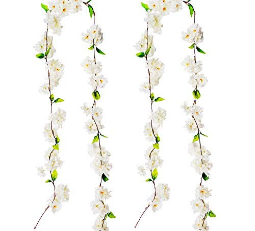 BEFINR Artificial Cherry Blossom Vine White Petal Flowers Forever Plants Garland for Art Home Decoration Wedding Party Garden Office 2 Pack from BEFINR