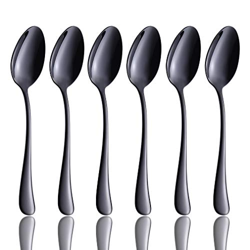 (Teaspoons Set of 6, Black Dessert Spoons Flatware Replacement 18/10 Stainless Steel Small Silverware Tea Spoon, 6.7-inch Appetizer, Cereal Spoons, 6-Piece Ice Cream Spoon, Dishwasher Safe)