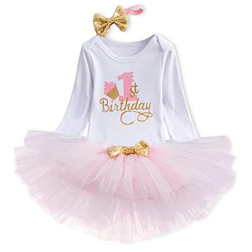 TTYAOVO Meisje Rok Pasgeboren 3 stks Baby's 1e Verjaardag Set/Outfits met Romper + Tutu Jurk + Hoofdband