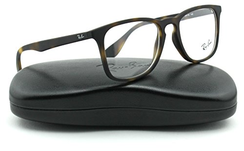 Ray-Ban RX7074 Square Unisex Eyeglasses (Rubber Havana Frame 5365, - Ray Glasses Lense Ban Clear