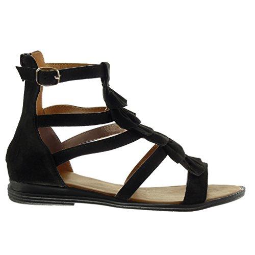 Angkorly Damen Schuhe Sandalen Mule - Römersandalen - Fransen - Multi-Zaum - String Tanga Blockabsatz 2.5 cm Schwarz