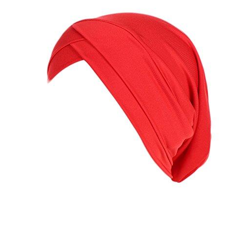 LEXUPA Women Muslim Ruffle Cancer Chemo Hat Beanie Scarf Turban Head Wrap Cap (One Size,Red)