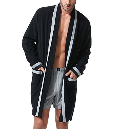 Gregg Homme Organic Cotton Blend Robe (153001) M/Black/Grey by Gregg Homme