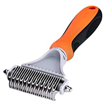 Pet Rake Comb, Petist Dog Brush Cat Brush, 2 Sided Undercoat Rake Comb Tool with Stainless Steel Blades, Removes Undercoat Knots, Mats, Tangled Hair