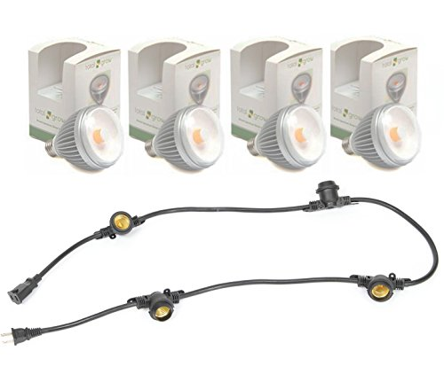 (4) TotalGrow TG1A Broad Spectrum LED Grow Light Bulbs bundle with (1) Multi-Socket Cord with 15-inch Socket Spacing and 4 Medium-Base Sockets (E26), 5 Foot, Black. by GoGrowLight