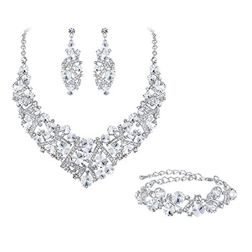 Flyonce Women's Austrian Crystal Wedding Luxury Floral Filigree Necklace Earrings Set Clear Silver-Tone
