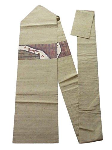 吸収する圧力気まぐれなリサイクル 名古屋帯  紬 和紙 鳥を追う犬 正絹