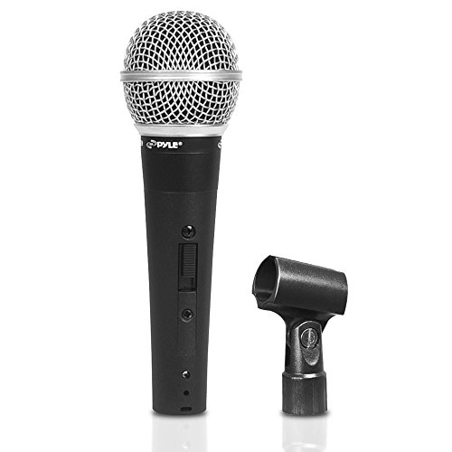 Pyle-Pro Professional Moving Coil Dynamic Cardioid Unidirectional Vocal Handheld Microphone with ON/OFF Switch & Mic Holder Clip & 15ft XLR Audio Cable to 1/4'' Audio Connection (PDMIC60CL) (Studio Dynamic Microphone Cardioid Pro)