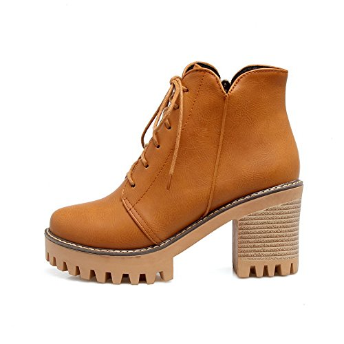 Manmade Up Lace A Womens Road Lining Insulated Warm Heeled Adjustable Boots Yellow Boots amp;N Strap DKU01820 Platform Urethane AN Waterproof A6qYFgg