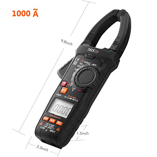Multimeter, Tacklife CM04 9.8 Inches Length Auto-Ranging 6000 Counts Clamp Meter, 1000A AC Current, AC/DC Volt, Ohm, Hz, LowZ, NCV VFD, Continuity, Duty Cycle, Capacitance Professional Tester